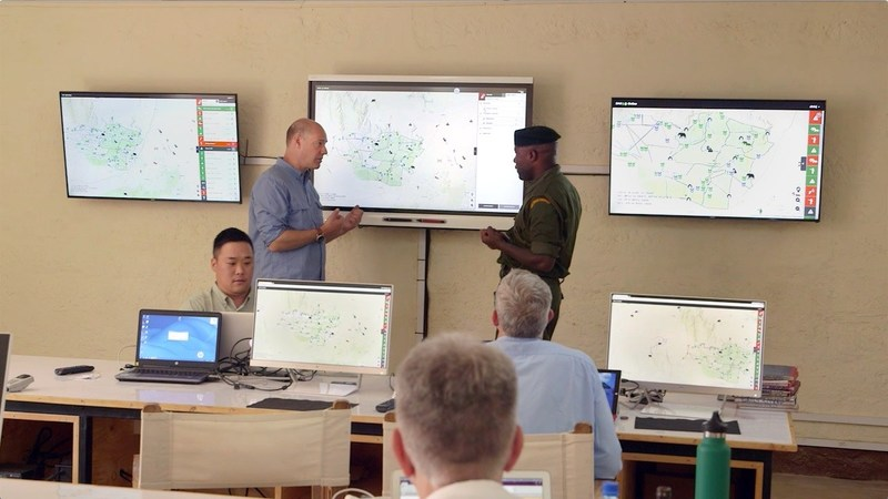 Ranger orientation at the new Joint Operations Center at Lewa Conservancy, using Domain Awareness System to manage the entire landscape.