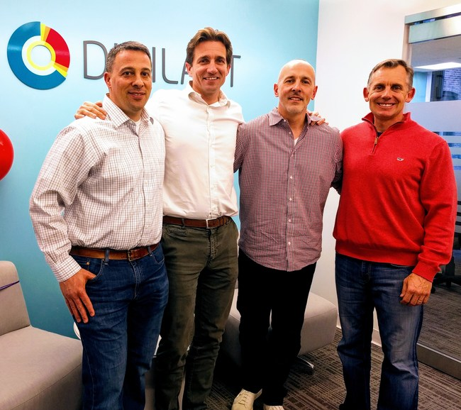 The acquisition of Anagram will expand Digilant's programmatic capabilities to offer a full range of possibilities to service clients.  Celebrating the final signing of the agreement, from left to right: Rick Clemon, CFO, David Rodes, Corporate Development, Adam Cahill, President, US and Alan Osetek, Global CEO.