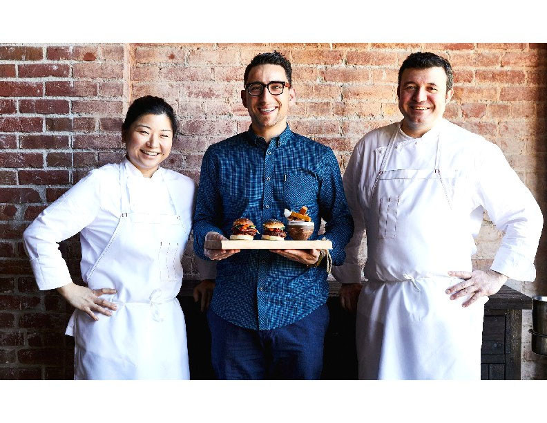 Left to right: Kelly Jeun, Chef de Cuisine; Rocco Scordella, Chef-Owner; Eduardo Valle Lobo, Executive Chef, Palo-Alto based Vina Enoteca
