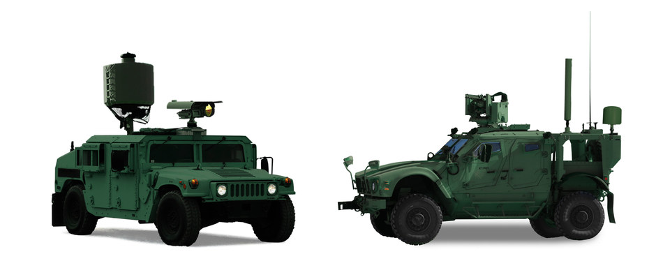 An example of SRC's Silent Archer system in a mobile expeditionary configuration, utilizing a HMMWV (left) and an M-ATV (right).