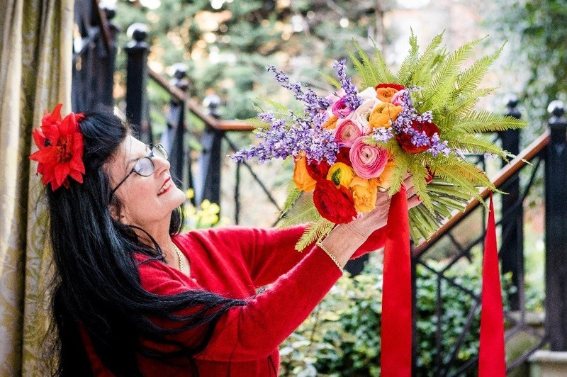 Jenny Tobin and her original bouquet created for Cunard.