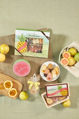 Honolulu Cookie Company's 2017 Fruit Collection includes the brand new Guava- and Lilikoi-flavored premium shortbread cookies. Pictured is the Plantation Collection Window Box, Hawaiian Fruit Crate, Pineapple Ornament Tropical Collection, and Guava Tin.