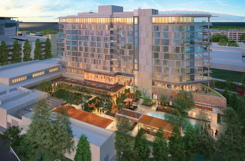 An aerial view rendering of Hotel Nia in Menlo Park, opening early 2018