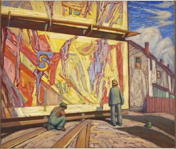 Lawren S. Harris, Panneau d'affichage (Jazz), 1921, Huile sur toile, 107.2 x 127.5 cm, Musée des beaux arts du Canada, Ottawa, Don de Imperial Oil Limited, Calgary, 2016, © Famille de Lawren S. Harris, Photo: MBAC (Groupe CNW/Musée des beaux-arts du Canada)