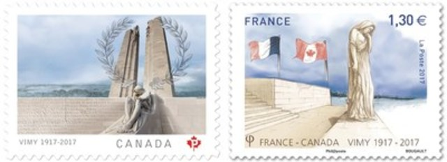 Canadian stamp on the left; French stamp on the right. (CNW Group/Canada Post)