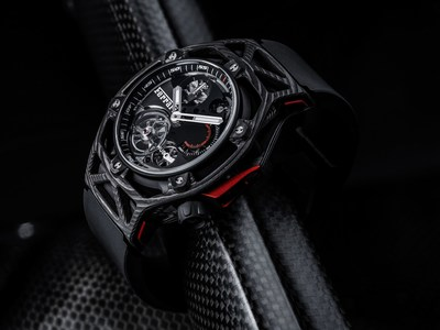 Techframe Ferrari Tourbillon Chronograph PEEK Carbon (PRNewsFoto/Hublot)