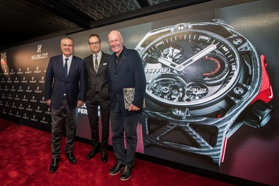 Ricardo GUADALUPE (Hublot CEO), Flavio MANZONI (Ferrari Head of Design), Jean-Claude BIVER  (Hublot Chairman and President of LVMH Watch Division) unveil the Hublot Techframe timepiece (PRNewsFoto/Hublot)