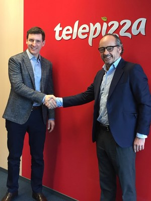 Pablo Juantegui, Telepizza´s President and  Mr. Jakub Šlezar founder of Forty's Pizza (PRNewsFoto/Telepizza)