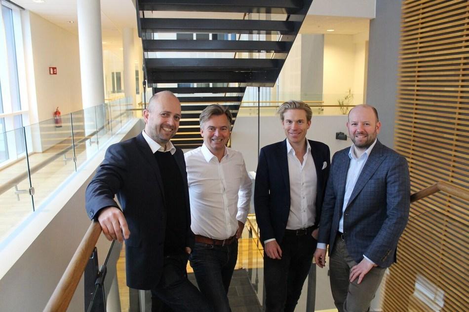 From left: Jan Åge Skaathun (CSD Quantfolio), Magnar Øyhovden (CEO Skandiabanken), Christoffer Hærnes (CDO Skandiabanken) and Helge Hannisdal (CEO Quantfolio) (PRNewsFoto/Quantfolio)