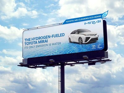 Toyota's new campaign for Mirai, its hydrogen fuel cell vehicle, is blazing a trail with eco-billboard technology that will help clear the air. With 37 billboards in Los Angeles and San Francisco, the equivalent of 5,285 vehicles worth of nitrogen dioxide (NOx) emissions, the key ingredient in acid rain and smog, will be removed from the air per month.