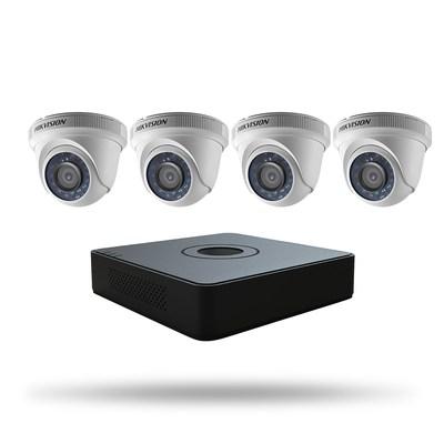 Hikvision offre des ensembles pour la première fois. Les appareils ont ete selectionnes avec diligence, pour repondre aux besoins distincts du marche des PME. Hikvision offre deux niveaux d'ensemble. L'ensemble Turbo HD à 4 canaux est photographie ici.