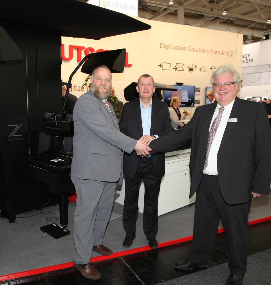 (from left): Volker Jansen, Head of product development, Zeutschel; Peter Nielsen, Market Manager 'Cultural Heritage' , PhaseOne and Jörg Vogler, CEO, Zeutschel announce at CeBIT a close cooperation in product development and sales. (PRNewsFoto/Zeutschel GmbH)