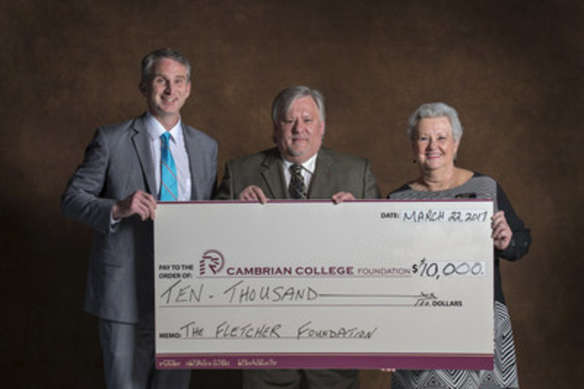 Carol and George Fletcher Foundation trustee David Saunders, C.E.T., (center) presents $10,000 gift to Cambrian College president Bill Best (left) and Cambrian Foundation director Darlene Palmer. (CNW Group/OACETT - Ontario Association of Certified Engineering Technicians & Technologists)