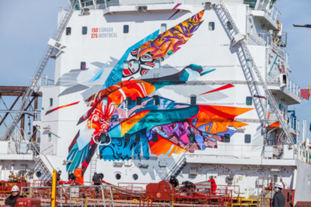 The recently unveiled The Sea Keeper mural painted on CSL's Trillium Class bulk carrier, CSL St-Laurent. (CNW Group/The CSL Group Inc.)