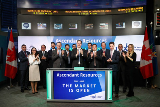 Chris Buncic, President & CEO, Ascendant Resources Inc. (ASND), alongside Ascendant management team and guests, joined Eric Loree, Team Manager, Listed Issuer Services, TSX Venture Exchange to open the market. Ascendant Resources Inc. is a mining company focused on its flagship operating asset, the producing El Mochito zinc, silver and lead mine in west-central Honduras in which the Company has a 100% interest. Ascendant Resources Inc. (formerly Morumbi Resources Inc.) commenced trading on TSX Venture Exchange on December 30, 2009. (CNW Group/TMX Group Limited)