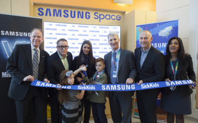 Samsung Electronics Canada Inc. today unveiled the Samsung Space at The Hospital for Sick Children (SickKids), part of its ongoing, multi-year partnership with SickKids. The Samsung Space is an interactive digital environment that will provide a variety of immersive experiences through the Samsung connected ecosystem, bringing visitors closer to what matters to them. (CNW Group/Samsung Electronics Canada)