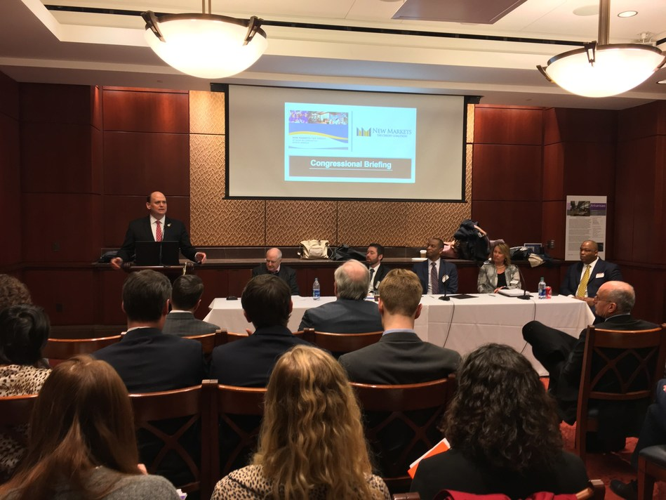 U.S. Rep. Tom Reed (R-NY) briefs congressional staff and industry leaders on legislative efforts to make the New Markets Tax Credit permanent at an event sponsored by the NMTC Coalition