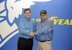 Goodyear's Gary Medalis (left) congratulates truck driver David Webb after Webb was announced as the 34th Goodyear Highway Hero.
