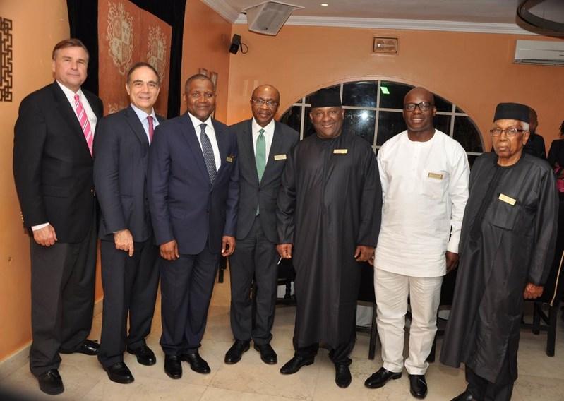 From left: Ambassador Stuart Symington, John Coumantaros, Alhaji Aliko Dangote, Governor Godwin Emefiele, Abdulsamad Rabiu, Adewale Tinubu and Alhaji Ahmed Joda
