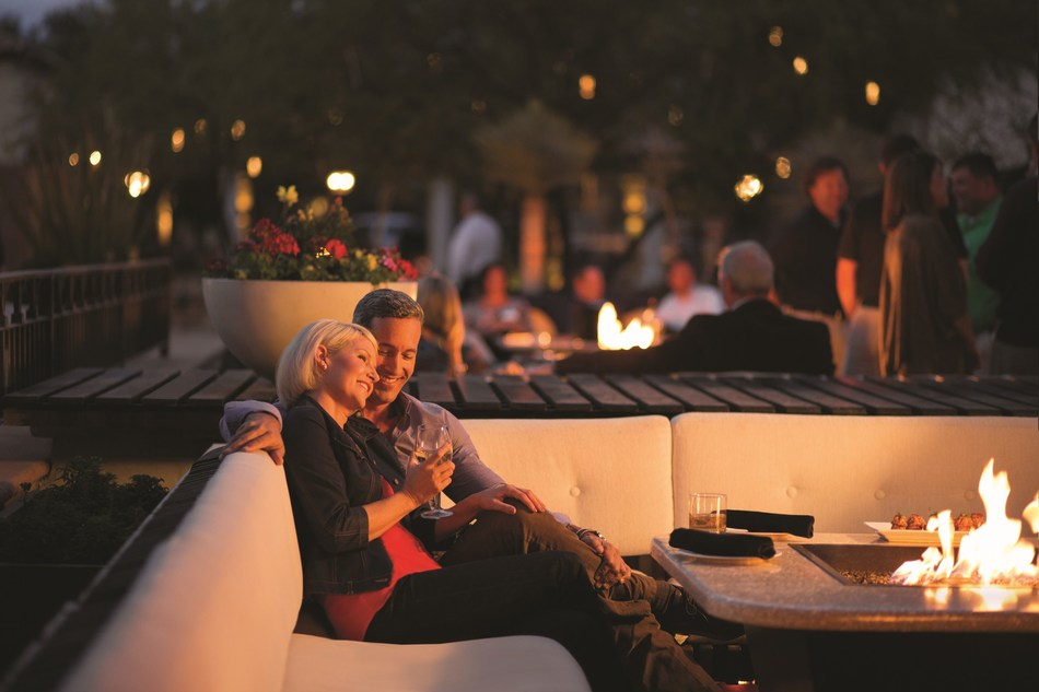 With great spring weather in Arizona, guests enjoy cocktails al fresco at The Plaza Bar at the Fairmont Scottsdale Princess.