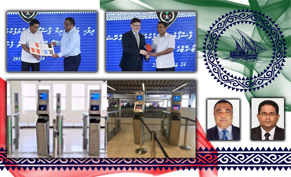 "Maldives Immigration Controller General, Mr. Mohamed Anwar (left small picture) and Deputy Controller Abdulla Algeen (small picture on the right) have received the IAIR award for the ""Most innovative high security ePassports and eGates"". The Maldives President, HE Abdulla Yameen had opened the system in 2016 (above left two pictures).The below two large images show the eGates. (PRNewsFoto/DERMALOG Identification Systems)"