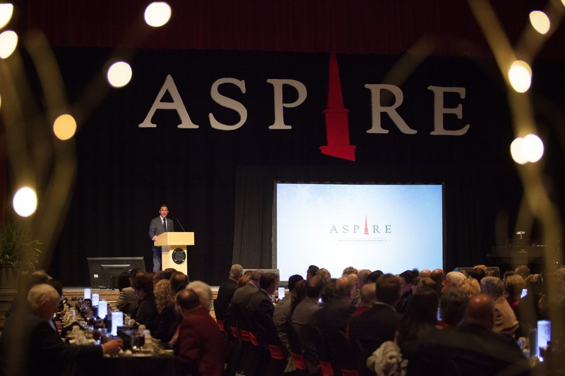Aspire Campaign Chairman Greg Dosmann announces the largest campaign in Grace College & Seminary history at a Thursday evening gala.  The $37 million Aspire Campaign has garnered $27.08 million to date.