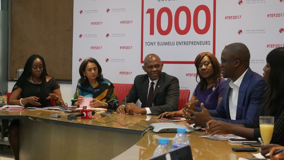 Founder, Tony Elumelu Foundation (TEF), Tony O. Elumelu CON (middle) flanked on the left by Owen Omogiafo, Chief Operating Officer TEF; Parminder Vir OBE, CEO, TEF and on the right by Nimi Akinkugbe, Selection Committee (SC) Member; and Martin Eigbike, SC member during the selection committee (SC) meeting where 1,000 new Entrepreneurs for the 2017 TEF Entrepreneurship Programme were selected and announced in Lagos. (PRNewsFoto/Tony Elumelu Foundation (TEF))