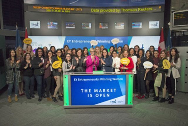 """Laura Assal, Senior Manager, Ernst & Young (EY) and Chair of the GTA Professional Women's Network, joined Orlee Wertheim, Head Business Development, Global Mining, Toronto Stock Exchange and TSX Venture Exchange to open the market. EY is celebrating its commitment to advancing women in Canada. The Professional Women's Network fosters the exchange of knowledge and experiences through learning, as well as internal and market-facing networking events, and provides exposure and leadership opportunities to women at all levels. EY launched the """"Women. Fast forward"""" initiative to accelerate the gender parity clock with a focus on women in the workplace, women in leadership, women entrepreneurs and women at EY. (CNW Group/TMX Group Limited)"""