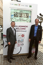 Countdown Clock for the Grand Depart Dusseldorf 2017. Lord Mayor Thomas Geisel and Tour Director Christian Prudhomme. Photo: City of Duesseldorf / David Young (PRNewsFoto/City of Duesseldorf)