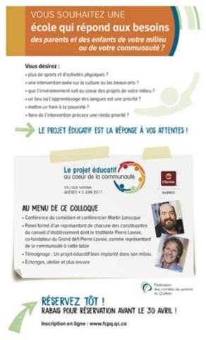 Le Colloque national de la FCPQ se déroulera le 3 juin prochain sous le thème « Le projet éducatif au coeur de la communauté ». (Groupe CNW/Fédération des comités de parents du Québec)