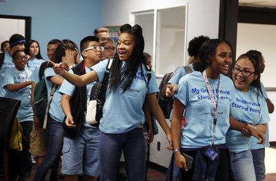 Keystone teen members of the Lied Boys & Girls Club of Southern Nevada were surprised on Wednesday when associates from Aaron's, Inc., a leading omnichannel provider of lease-purchase solutions, and its divisions Aaron's and Progressive Leasing, unveiled a newly renovated Keystone Teen Center in Las Vegas. As part of Aaron's three-year, $5 million national partnership with Keystone, Aaron's associates have remodeled 19 Keystone Teen Centers across the U.S.