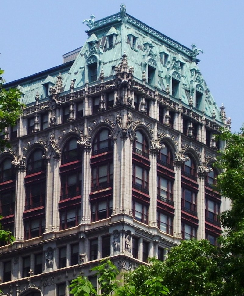 New York, NY - 220 Fifth Avenue, formerly known as the Croisic Building, constructed in 1912 and known for its Neo-Gothic architecture, visible for blocks.