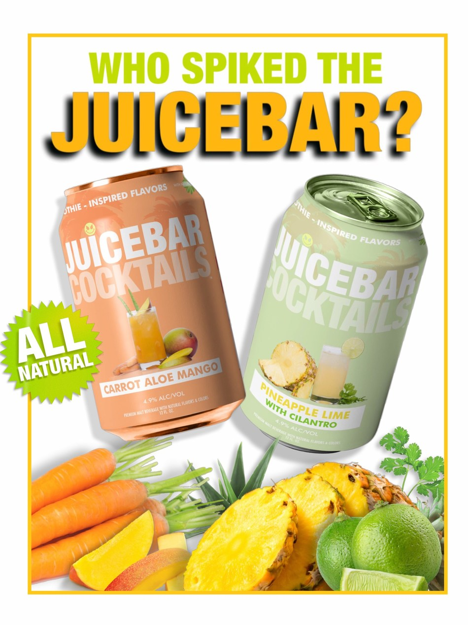 JUICEBAR COCKTAILS: Fruit and vegetable juices, natural herbs and spices, lightly sweetened with natural sugar, and mixed with tasteless malt alcohol