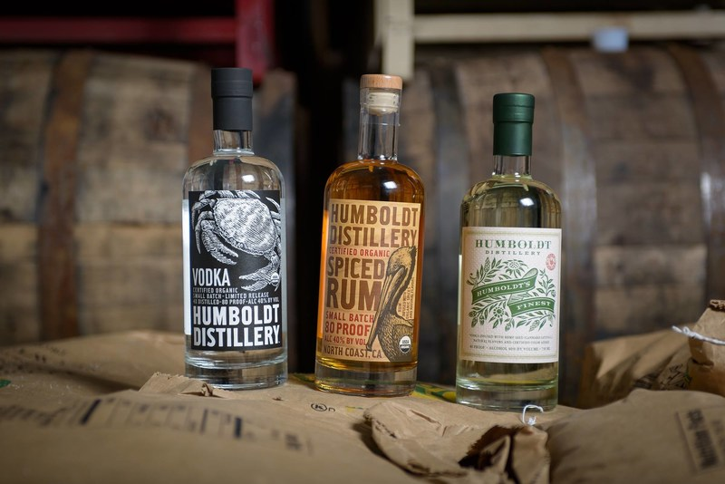 Lineup of Humboldt Distillery Organic Vodka, Organic Spiced Rum, and Humboldt's Finest