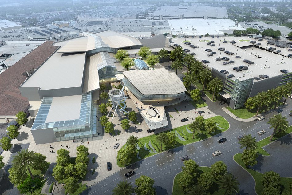 Aventura Mall's new 315,000 square-foot wing is scheduled to debut in late 2017. Its three key design points - transparency, connectivity and integration - will provide a completely unique experience for visitors. An 84-foot by 50-foot glass wall at the entrance will offer panoramic views of the surrounding landscape.