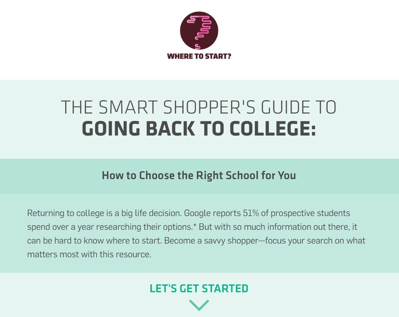 Select the top three factors you are considering when thinking about returning to college. You will then be introduced to your college shopper persona.