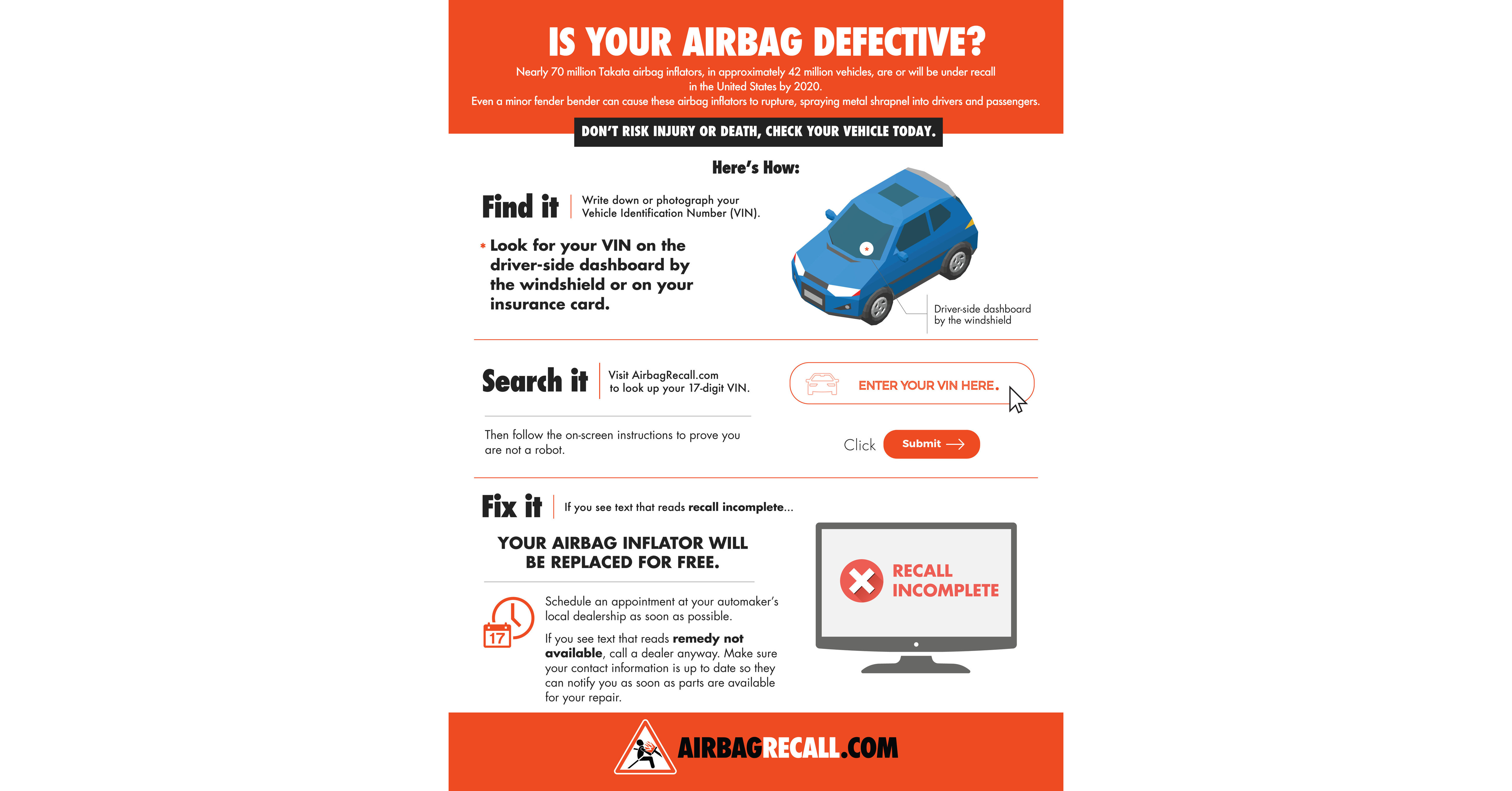 More than one million defective airbag inflators remain unrepaired in southern california