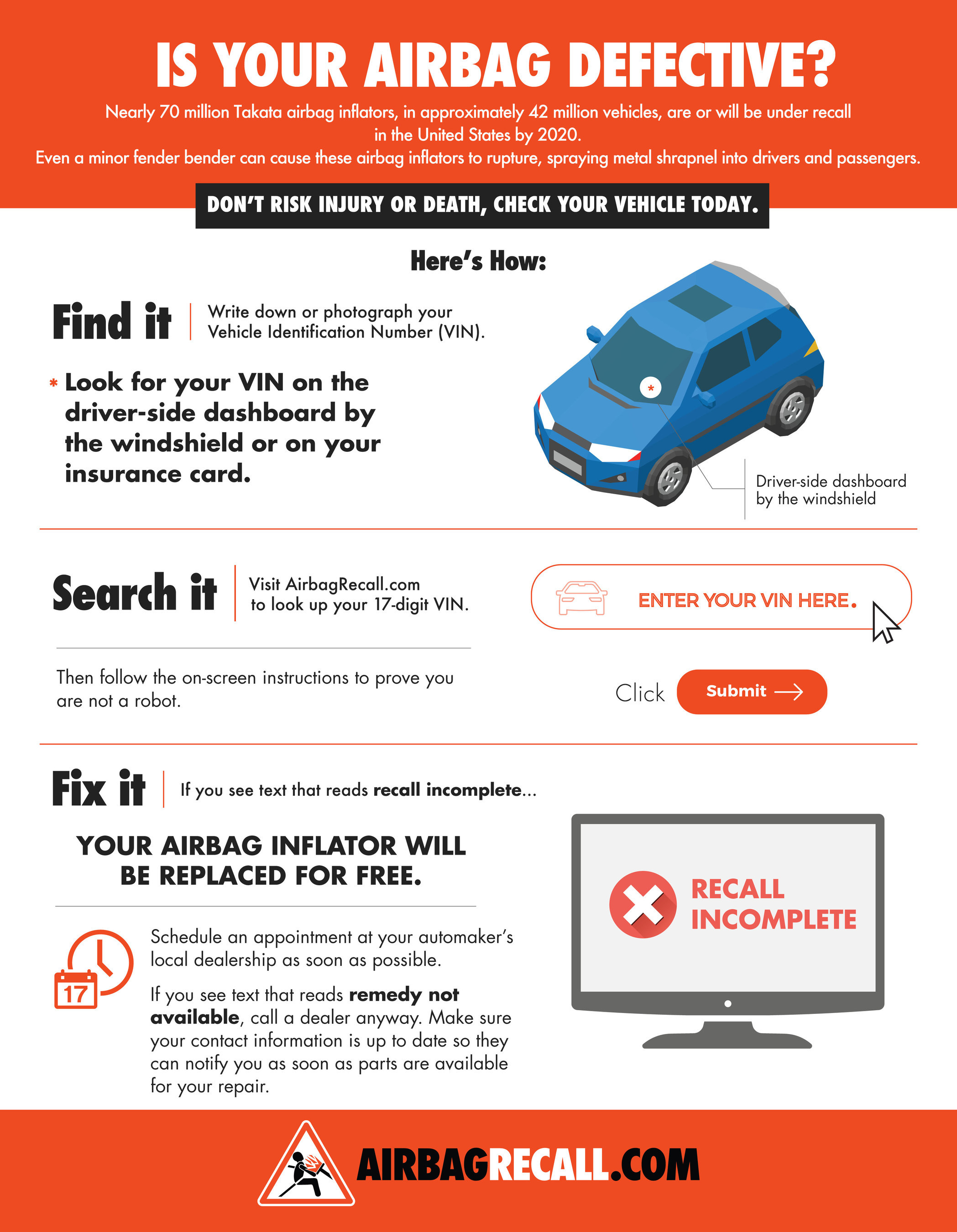 To determine if your car has a defective airbag inflator, visit  www.AirbagRecall.com and enter your vehicle identification number (VIN).