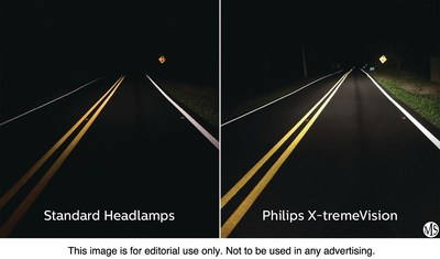 Philips Upgrade Headlight Bulbs (right) can put out up to 100 percent more light on the road than standard halogen bulbs (left).