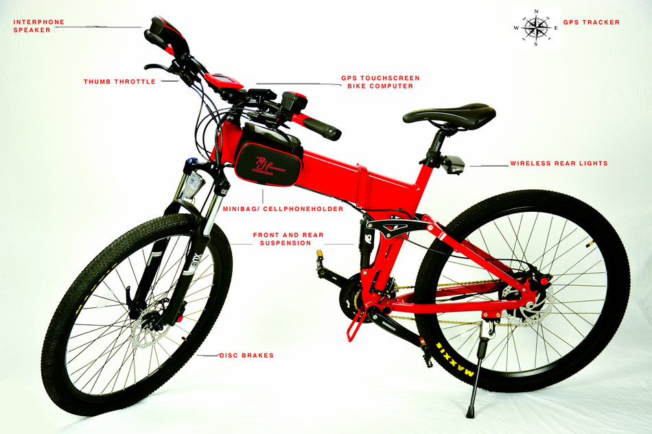 "27.5"" Fully loaded, folding smart bike with custom bike bag"
