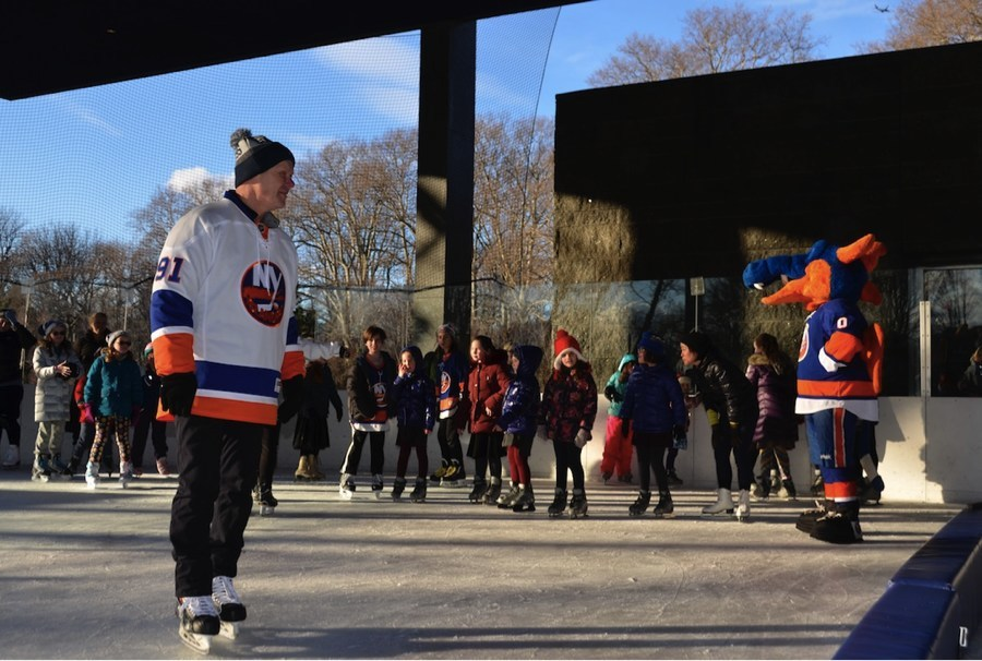 Islanders Legend Butch Goring giving a hockey lesson at a Sticks and Skates session at the LeFrak Center in Prospect Park.