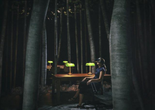 Photo : La bibliothèque, la nuit; Crédit photo : Stephane Bourgeois (Groupe CNW/Musée de la Civilisation)