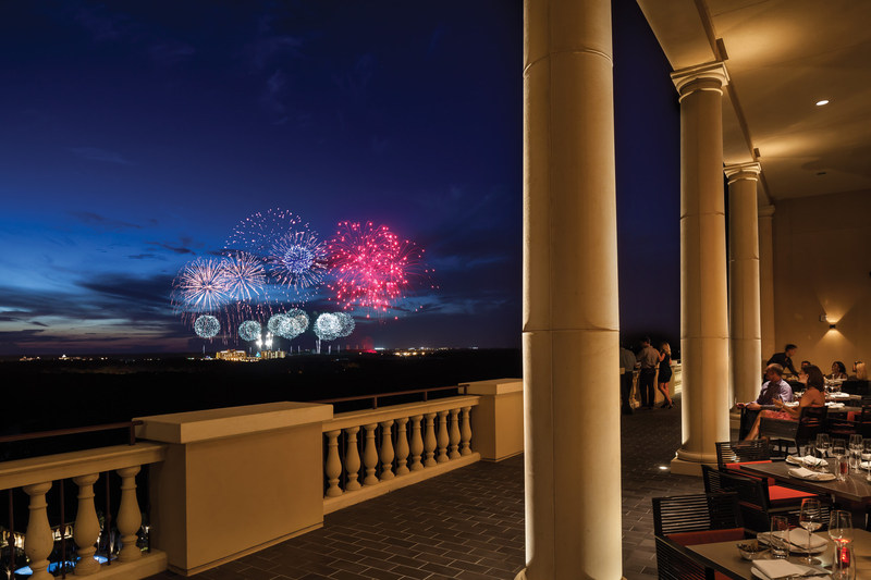 Capa, the resort's rooftop steakhouse, has stunning views of the Disney fireworks.