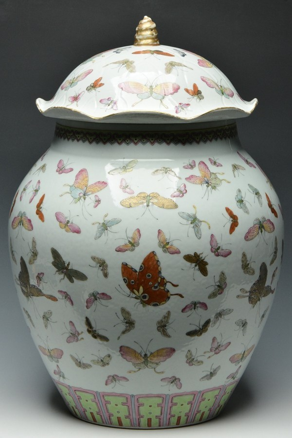 Imperial Famille Rose butterfly jar and cover, Guangxu mark and period, 16 inches x 11 inches. Estimate: $2,000-$3,000