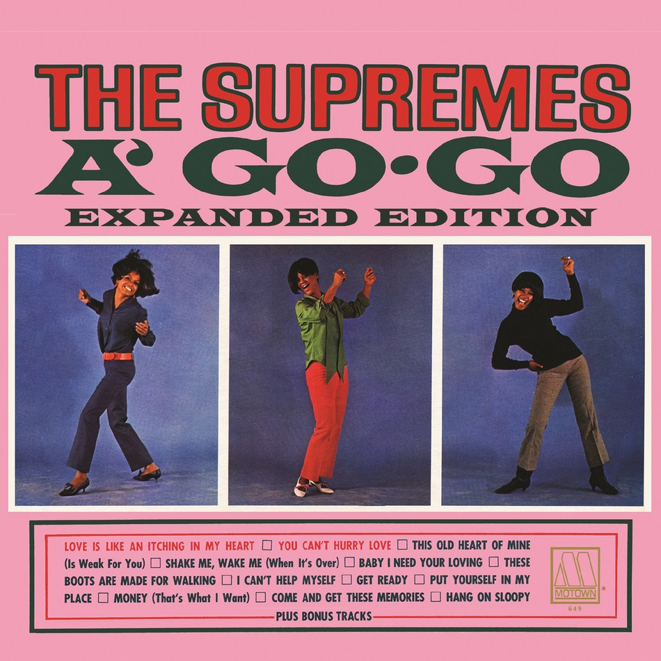 "UMe SET TO REISSUE THE SUPREMES A' GO-GO IN DELUXE, EXPANDED, TWO-CD EDITION WITH OUTTAKES, RARE MONO & VOCAL MIXES, DUET, APRIL 28  The group's first-ever #1 album (and first by an all-female group) featured the chart-topping ""You Can't Hurry Love"" and covers of fellow Motown artists' hits, new version includes covers of Dylan, Rolling Stones"