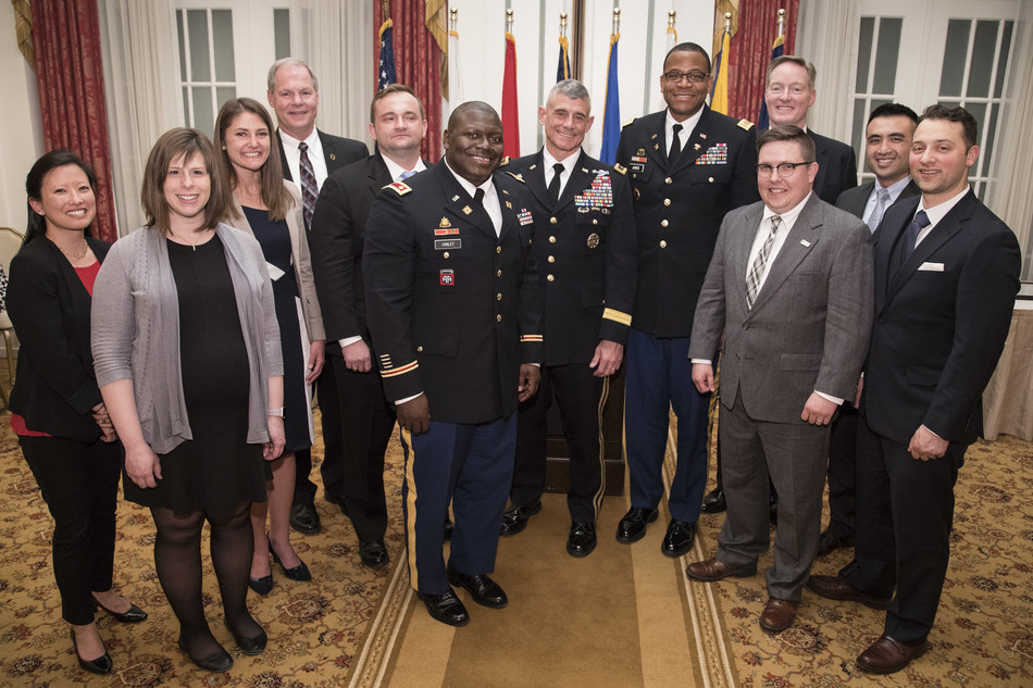 The IU-UNC LogMBA 2017 graduates and program team with commencement speaker Lt. Gen. Robert L. Caslen, Jr., Superintendent, U.S. Military Academy, West Point at the Army and Navy Club in Washington, DC.