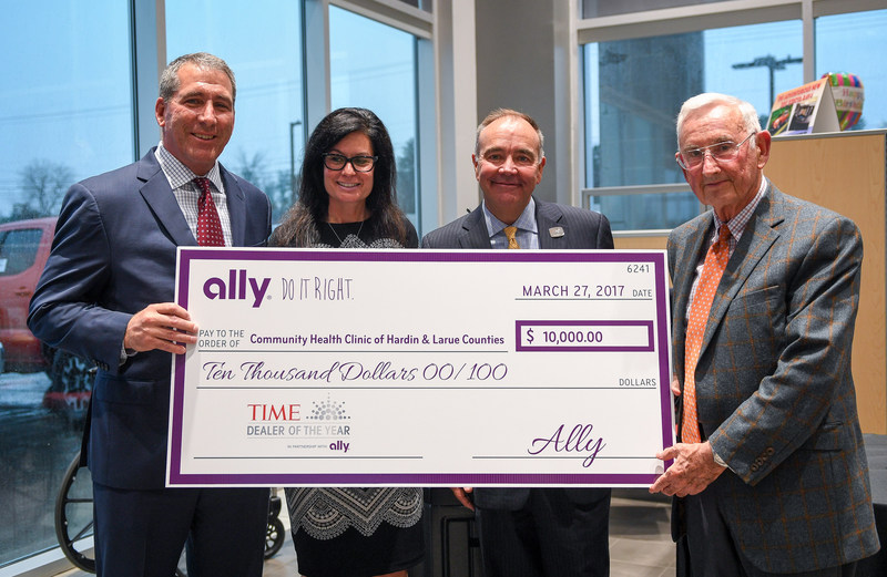 Ally and TIME Celebrate the 2017 TIME Dealer of the Year, Carl Swope. (Pictured L to R: Tim Russi, president of auto finance at Ally, Andrea Riley, chief marketing officer at Ally, Carl Swope, president of Swope Toyota and Dr. William Handley, chairman of the board of Community Health Clinic of Hardin and LaRue Counties.)