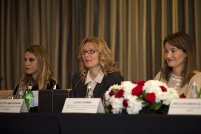From left to right: Dana Al Fardan, Composer of Brave New World; Nicoletta Mantovani, President & Founder of Luciano Pavarotti Foundation; Laura Somma, Managing Director, Co-founder of Rosso Italiano & Executive Producer of Brave New World, a Tribute to Luciano Pavarotti. (PRNewsFoto/Rosso Italiano & Pavarotti Found)