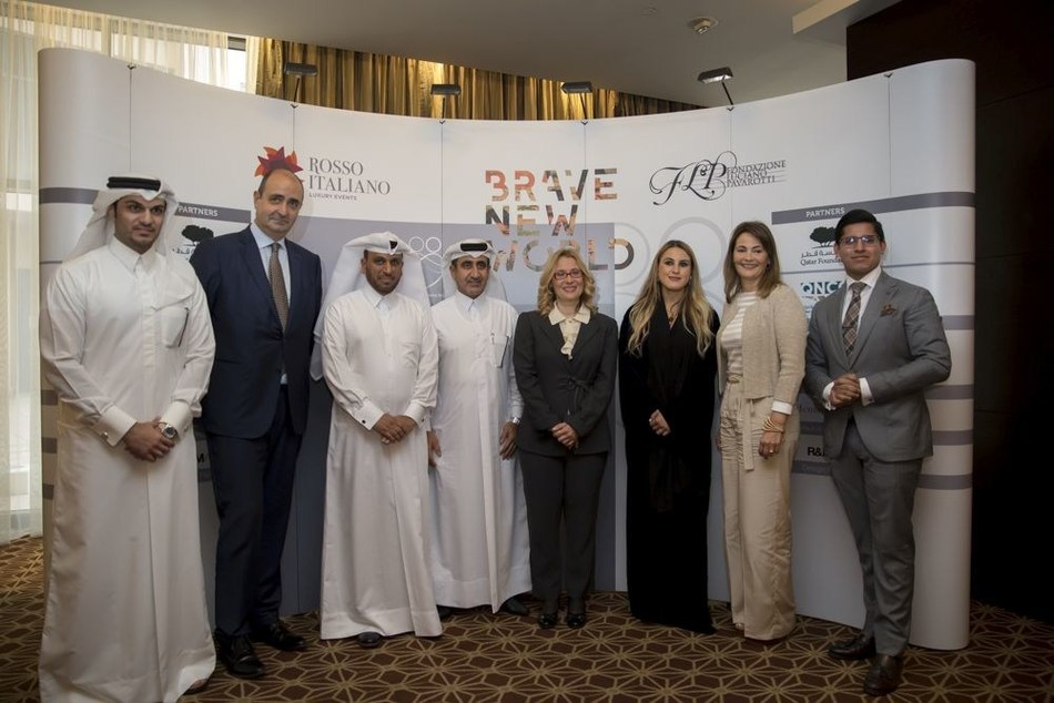 From left to right: Abdulrahman Al Ajail, Deputy Director Events & Marketing of The Qatar National Convention Centre; H.E. Guido De Sanctis, Ambassador of Italy to Qatar; Ali Al Haj, COO of Rosso Italiano; Essa Al Zeyara, CEO of Rosso Italiano; Nicoletta Mantovani, President & Founder of Luciano Pavarotti Foundation; Dana Al Fardan, Composer of Brave New World; Laura Somma, Managing Director, Co-founder of Rosso Italiano & Executive Producer of Brave New World, a Tribute to Luciano Pavarotti; Deep Kumar, Director of Sales at St. Regis Hotel. (PRNewsFoto/Rosso Italiano & Pavarotti Found)