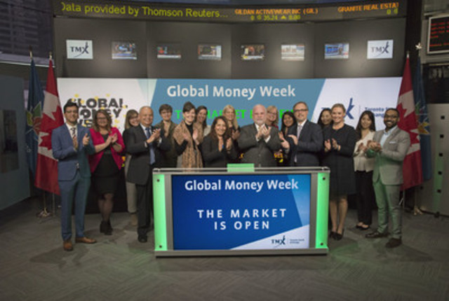 Gary Rabbior, President and Kevin Maynard, VP & COO, Canadian Foundation for Economic Education joined Tanya Rowntree, VP Sales, TSX Trust Company, TMX Group to open the market to celebrate Global Money Week (GMW). Also joining them will be representatives from The Canadian Banking Association, The Canadian Foundation for Economic Education, Credit Canada, Enactus Canada, Mastercard Foundation, Save the Children Canada and the University of Toronto. Held annually during the second week of March, GMW is a worldwide celebration which aims to inspire children and youth to learn about money, saving, entrepreneurship, gaining employment, and becoming responsible economic citizens. GMW is coordinated and supported by Child and Youth Finance International and The Organization for Economic Co-operation and Development. GMW 2017 takes place worldwide from March 27th to April 2nd. (CNW Group/TMX Group Limited)